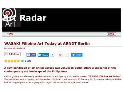WASAK! Filipino Art Today at ARNDT Berlin